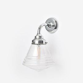 Wandleuchte Luxe School Clear Small Curve Chrom